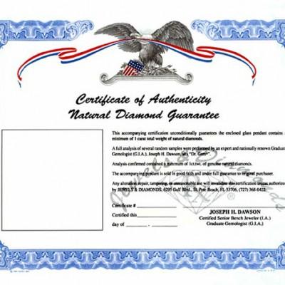 Certificate of Authencity Natural Diamond Guarantee